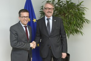 Carlos Moedas, Member designate of the EC in charge of Research, Science and Innovation receives Gunter Stock, President of ALLEA (All European Academies)